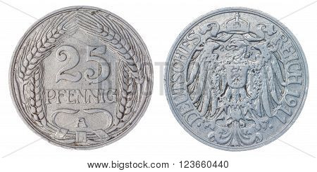 Nickel 25 pfennig 1911 coin isolated on white background, Germany Empire