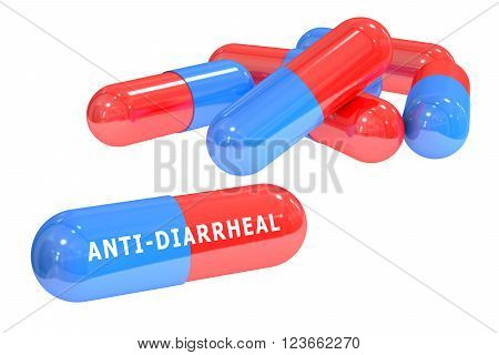 anti-diarrheal pills 3D rendering isolated on white background