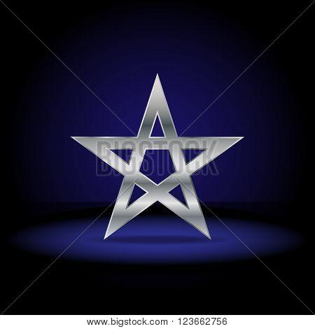 Silver pentagram symbol. Sign of the pentagram in the dark scenery.