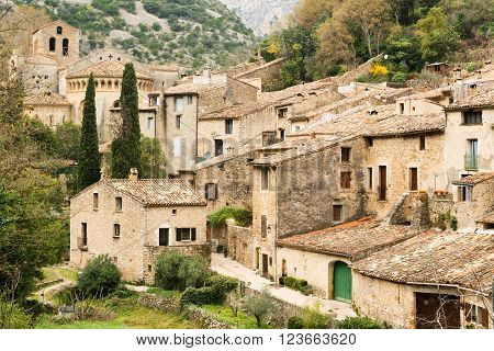 Famous Saint Guilhem le Desert village protected by UNESCO, France