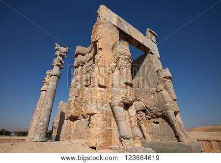 Gate of All Nations or Gate of Xerxes in the ruins of ancient Persepolis capital of Achaemenid Empire in Shiraz Iran.