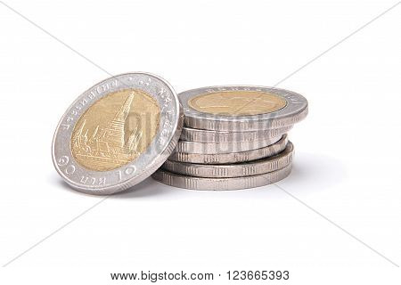 Stack Of 10 Baht Coins Isolated On White