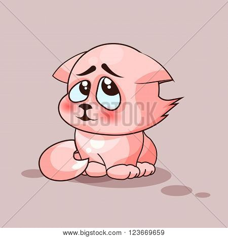 Vector Stock Illustration isolated Emoji character cartoon cat embarrassed, shy and blushes sticker emoticon for site, infographics, video, animation, websites, e-mails, newsletters, reports, comics