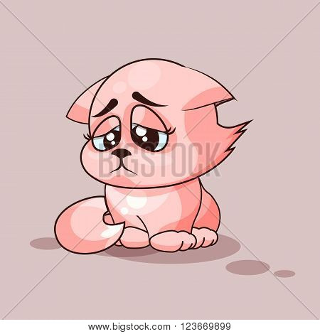Vector Stock Illustration isolated Emoji character cartoon cat sad and frustrated sticker emoticon for site, infographics, video, animation, websites, e-mails, newsletters, reports, comics