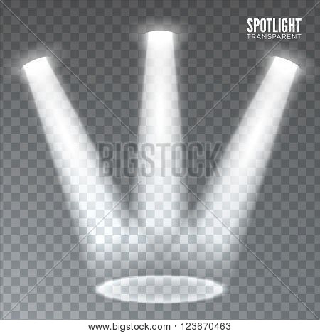 Stage spotlight on dark transparent background. Vector scene illuminated spotlight. Stage spotlight. Spotlight background vector. Show scene spotlight. Spotlight glow effect on transparent background.