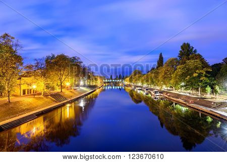 Panoramic view of river Ouse in York UK.