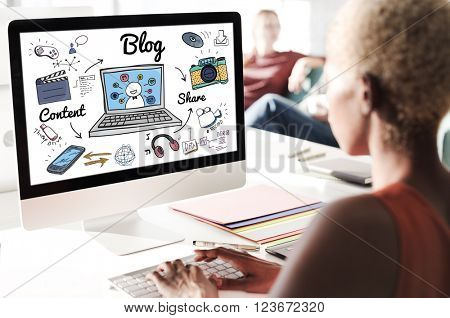 Blog Homepage Content Social Media Online Concept