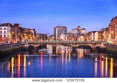 Dublin city on banks of river Liffey Ireland.