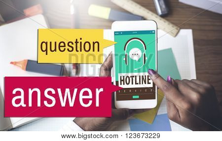 Question Answer Hotline Call Center Concept