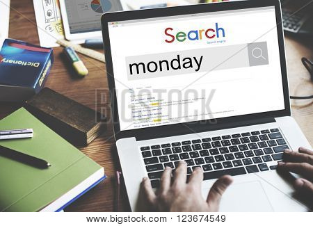 Monday Agenda Day Workday Calender Concept