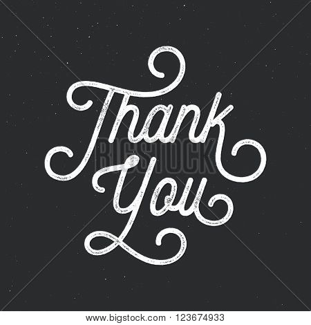 Thank You. Lettering for cards, posters, flyers, blog posts. Vector ink stamp effect, grunge background.