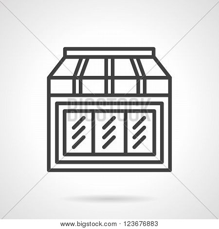 Shop window with awning. Facade element of toys shop. Storefronts and showcases theme. Simple black line vector icon. Single element for web design, mobile app.