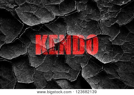 Grunge cracked kendo sign background with some soft smooth lines