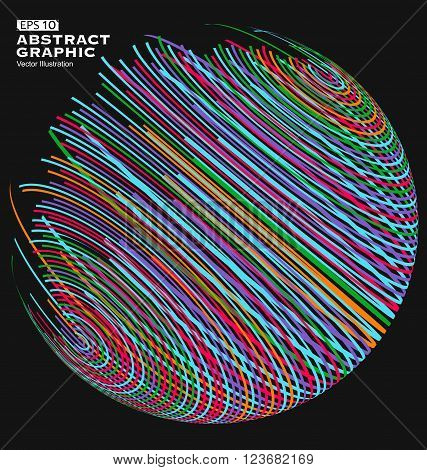 Three-dimensional sphere composed of multicolored curves abstract graphics.