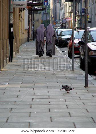 Walking nuns.
