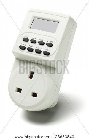 Electronic Digital Programmable Timer on White Background