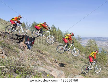 Ulan-Ude, Russia - April 27: an unidentified rider jumps from a ramp on the competitions for the