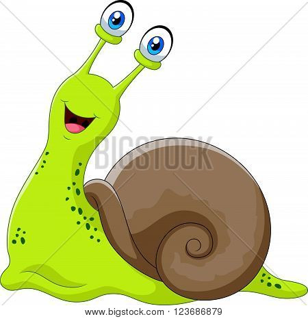 Vector illustration of Cute snail isolated on white background