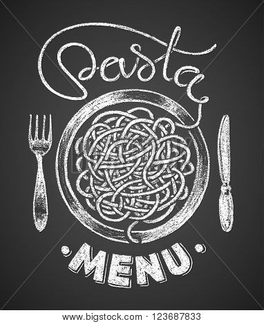 Pasta word written by one continuous line like a spaghetti and spaghetti snarl drawn on chalkboard. Eps8. RGB. Global colors