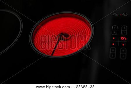 Electric hob closeup