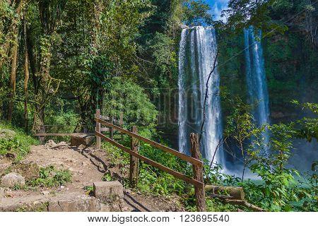 Popular Waterfall in Chiapas Mexico landmark in jungles