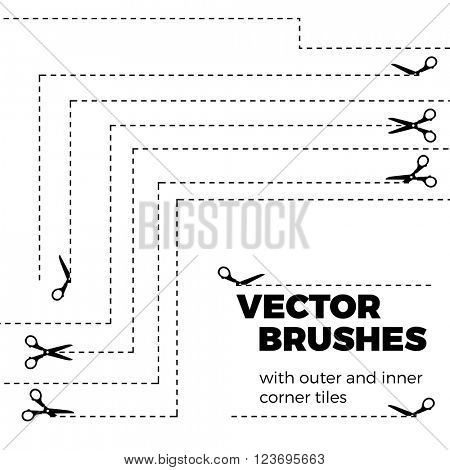 Scissors with cut lines isolated on white background. Vector seamless brushes with inner and outer corner tiles. Dividers, borders, ornaments. All used pattern brushes are included in brush palette.