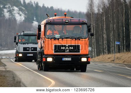 SALO FINLAND - MARCH 24 2016: Two MAN Schorling