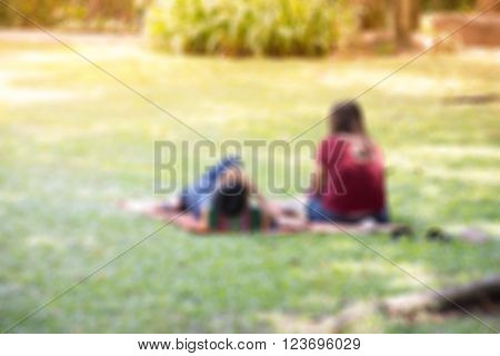 Blur Asian Couple Relaxed By Chillout In The Garden For Background