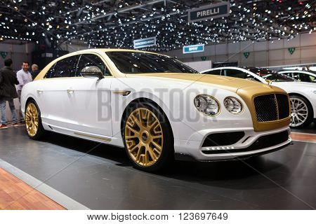 GENEVA, SWITZERLAND - MARCH 1: Geneva Motor Show on March 1, 2016 in Geneva, Mansory Bentley Flying Spur, front-side view