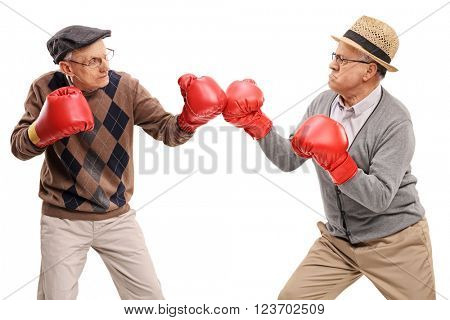 Studio shot of two competitive seniors fighting each other with boxing gloves isolated on white background