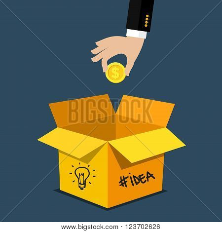 Concept of crowdfunding. Modern business model - funding project by raising monetary contributions from crowd of people