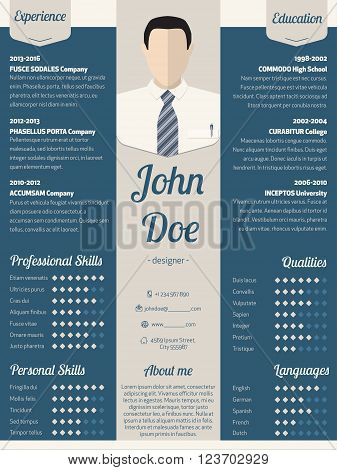 New modern resume cv curriculum vitae template design in blue with light ribbon