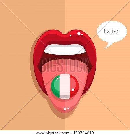 Italian language concept. Italian language tongue open mouth with Italian flag, woman face. Flat design, vector illustration.