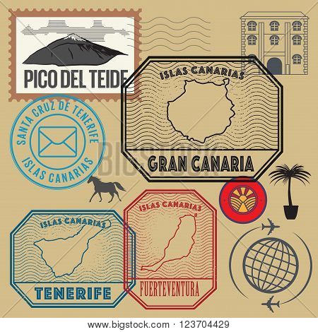 Travel stamps set Canary Islands, vector illustration