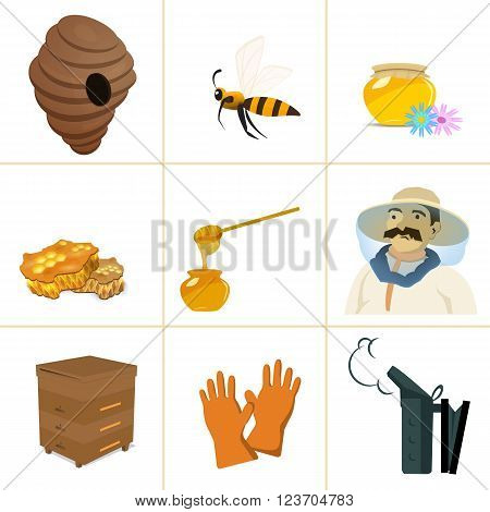Apiary Beekeeper. Vector set for apiary. The bee flies with a spoonful of honey in the hive. Apiary set art. Apiary set web.