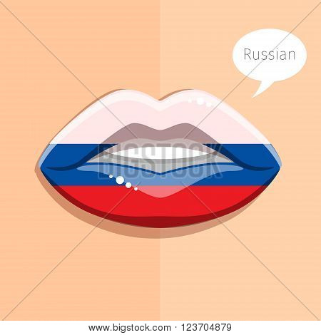 Russian language concept. Glamour lips with make-up of the  Russian flag, woman face. Flat design, vector illustration.