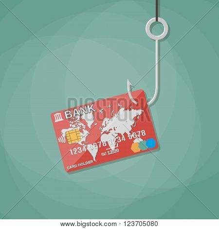 credit or debit plastic bank card on fishing hook, anti fraud, internet security, safety payments. vector illustration in flat design on green background