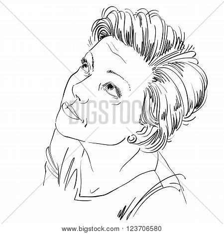 Monochrome Vector Hand-drawn Image, Young Woman Feel Sorry About Something. Black And White Illustra