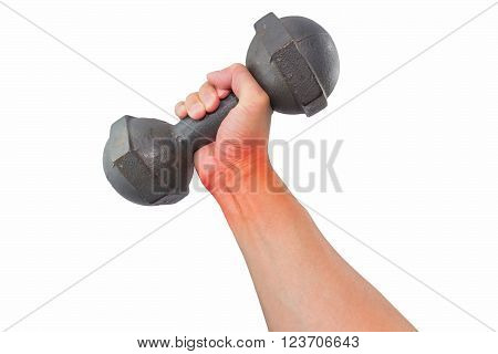 Right hand got pain on wrist holding a retro dumbbell isolated on white background