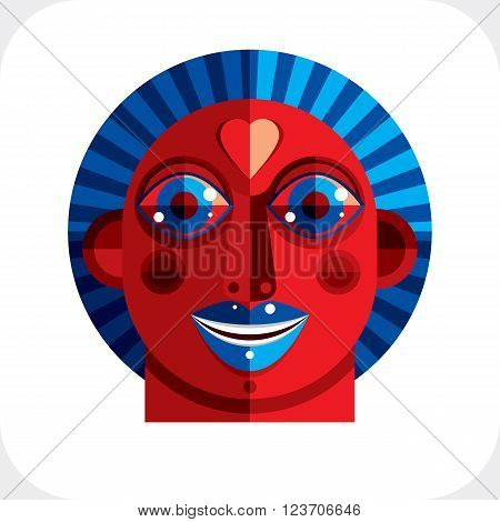 Flat design drawing of a person face art picture made in cubism style. Vector colorful illustration of bizarre character.