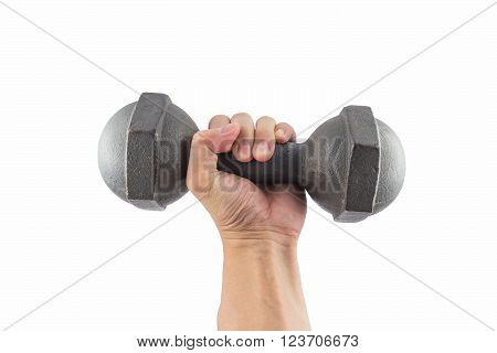 Left hand holding a retro dumbbell isolated on white background