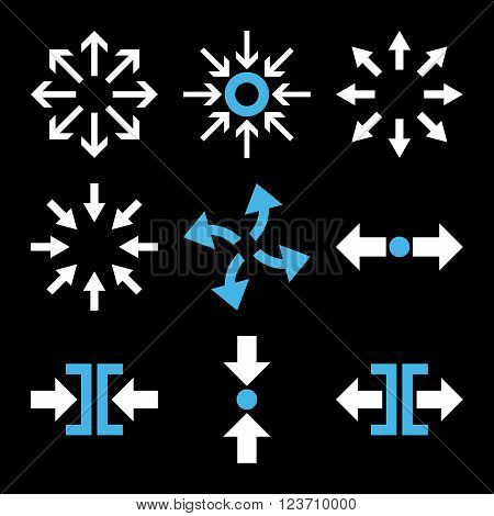 Compress and Explode Arrows vector icon set. Collection style is bicolor blue and white flat symbols on a black background. Compress And Explode Arrows icons.