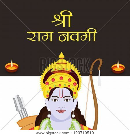 illustration of a background for Ram Navami in hindi text.