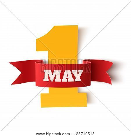 May 1st. Labor Day background. Poster, greeting card or brochure template isolated on white. Vector illustration.