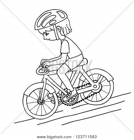 Edit girl on a bicycle contur vector drawing. Healthy lifestyle background.