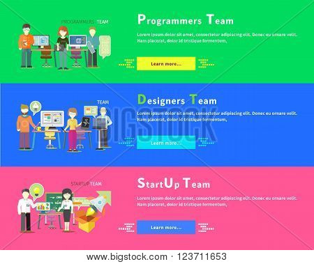 Startup business team people group flat style. Programmers team people. Programming and computer programmer, development and code. Designers team. Graphic design, web designer, architect and teamwork