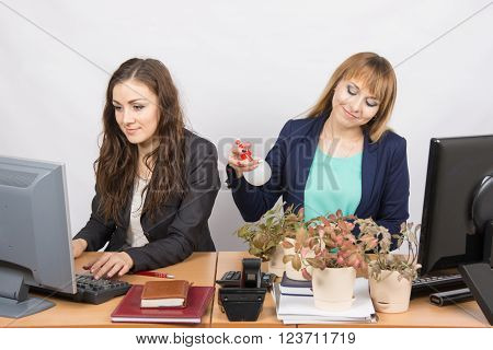 Two Office Employee, One Of Which Florist Amateur