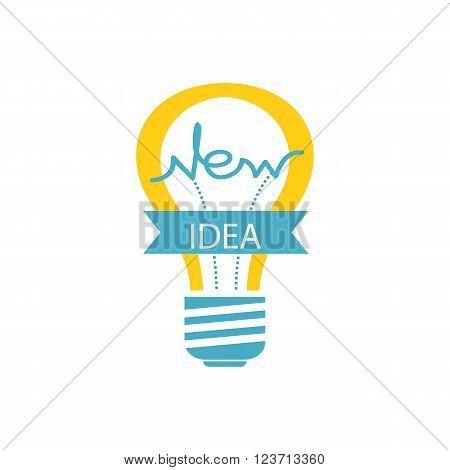Idea concept background. Glowing yellow light bulb as inspiration concept. Light sign ideas. Vector light bulb icon. Creative idea in bulb shape. New idea logo