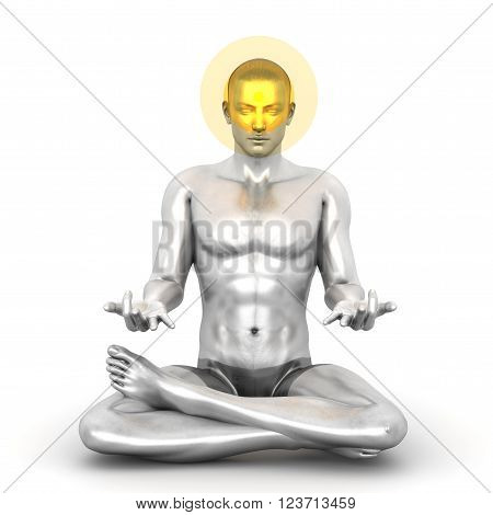 A woman performing a Ajna chakra meditation. 3D rendered illustration.