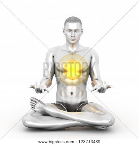 A woman performing a Anahata chakra meditation. 3D rendered illustration.